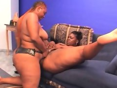 Ebony bbw lesbo cunt licked and dildo..