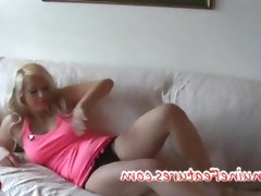 Cute, chubby blonde czech bbw rubs her..
