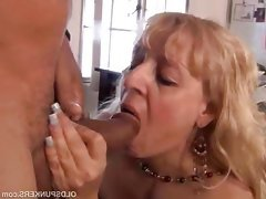 Mature blonde slut gets face fucked