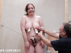 Bizarre fat slave punishment and..