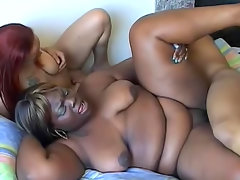 Black cock screws two chubby black girls