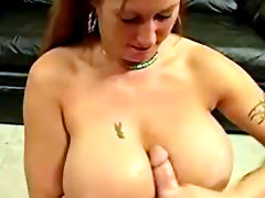 She jacks cock off onto her big tits