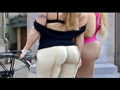 Two girls with big butts teasing on..