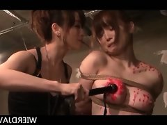 Jap mistress in latex spanking and..